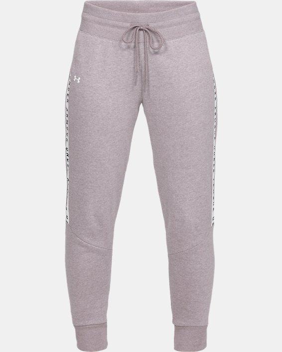 Women's UA Taped Fleece Pants, Gray, pdpMainDesktop image number 3