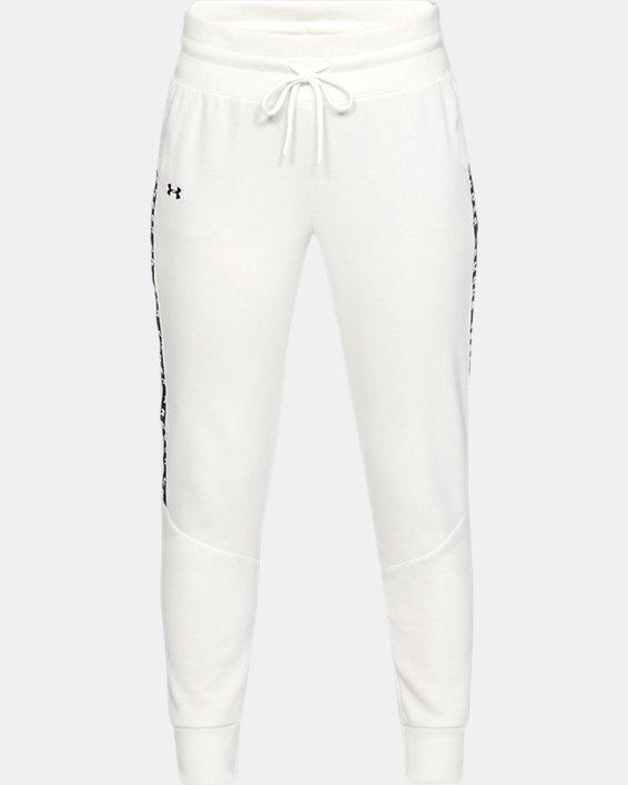 Women's UA Taped Fleece Pants, White, pdpMainDesktop image number 3