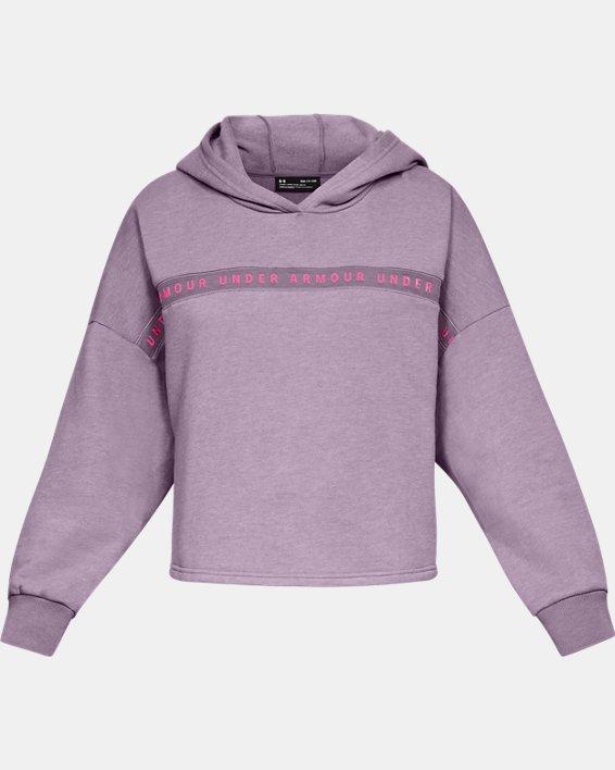 Women's UA Taped Fleece Hoodie, Purple, pdpMainDesktop image number 3