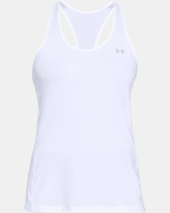 Women's HeatGear® Armour Racer Tank, White, pdpMainDesktop image number 4