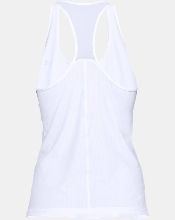 Women's HeatGear® Armour Racer Tank, White, pdpMainDesktop image number 3
