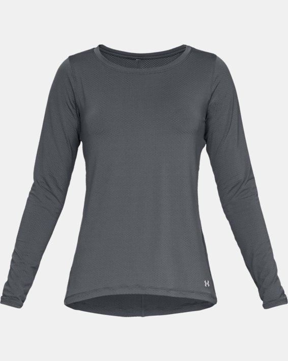 Women's HeatGear® Armour Long Sleeve, Gray, pdpMainDesktop image number 3