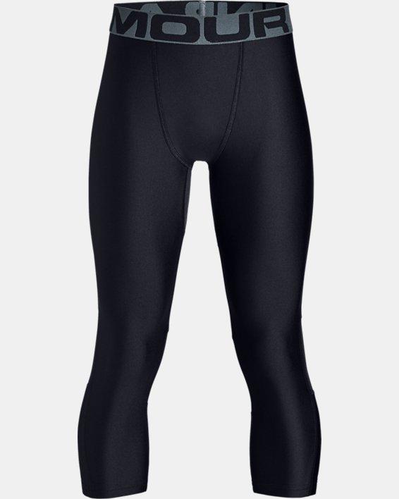 Boys' HeatGear® Armour ¾ Leggings, Black, pdpMainDesktop image number 4