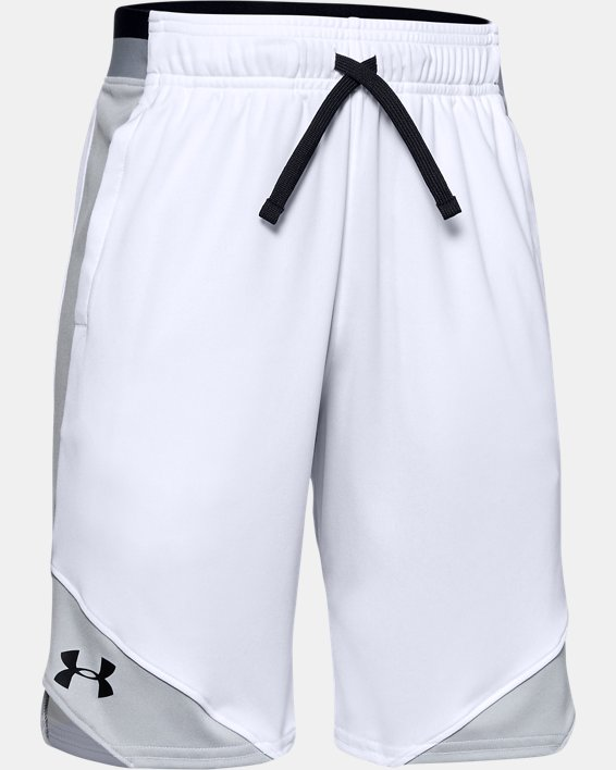 Boys' UA Stunt 2.0 Shorts, White, pdpMainDesktop image number 0