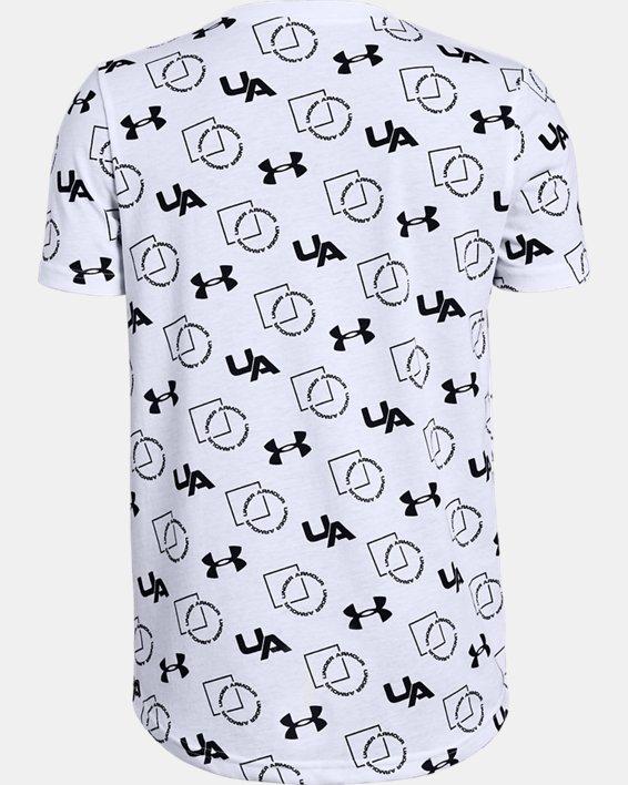 Boys' UA Sportstyle Print Short Sleeve, White, pdpMainDesktop image number 1