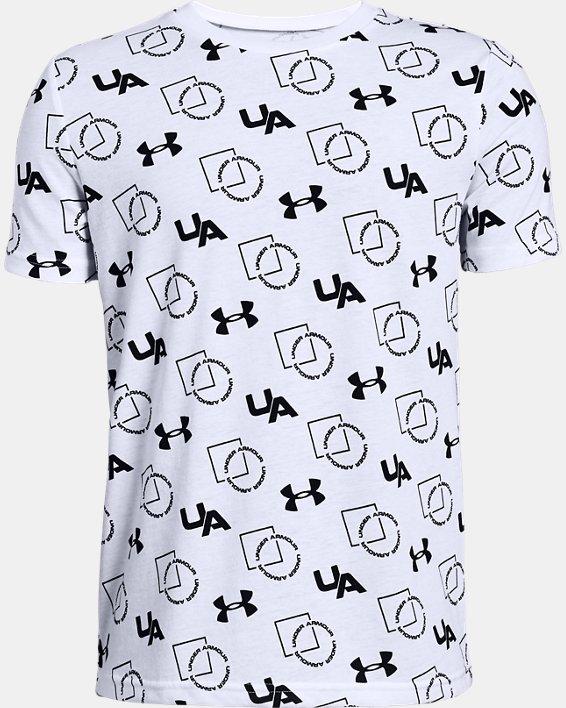 Boys' UA Sportstyle Print Short Sleeve, White, pdpMainDesktop image number 0
