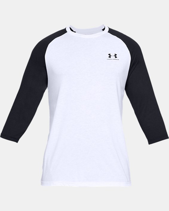 Men's UA Sportstyle Left Chest ¾ T-Shirt, White, pdpMainDesktop image number 3
