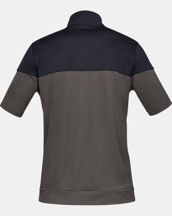 Men's UA Sportstyle Pique Short Sleeve Full Zip, Gray, pdpMainDesktop image number 4