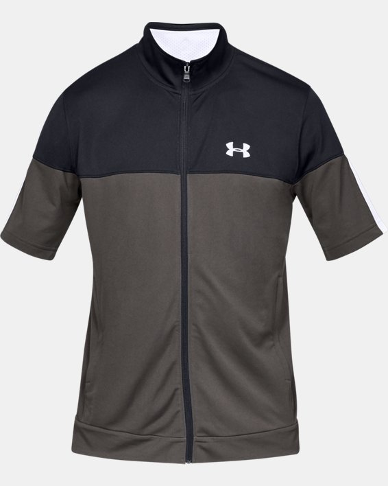 Men's UA Sportstyle Pique Short Sleeve Full Zip, Gray, pdpMainDesktop image number 3