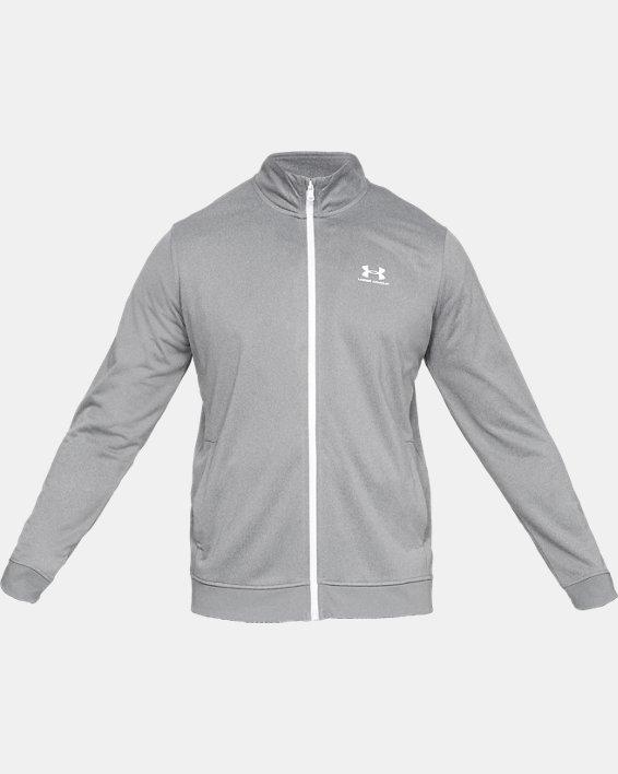 Men's UA Sportstyle Tricot Jacket, Gray, pdpMainDesktop image number 4