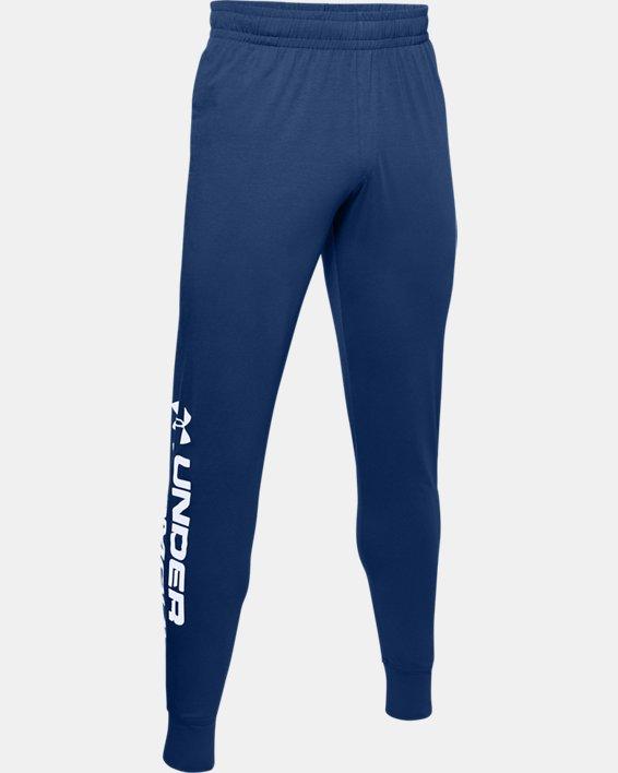 Men's UA Sportstyle Cotton Graphic Joggers, Blue, pdpMainDesktop image number 4