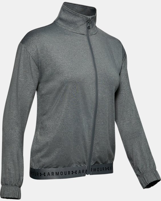 Women's HeatGear® Full Zip, Gray, pdpMainDesktop image number 4