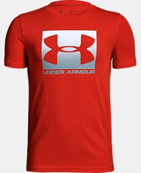 New Arrival  Boys' UA Box Logo Short Sleeve T-Shirt  1  Color Available $25