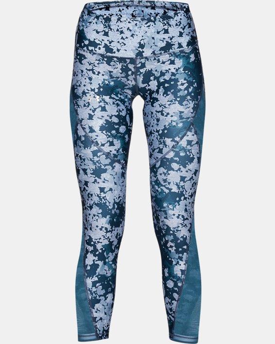 Women's HeatGear® Armour Print Ankle Crop, Blue, pdpMainDesktop image number 3