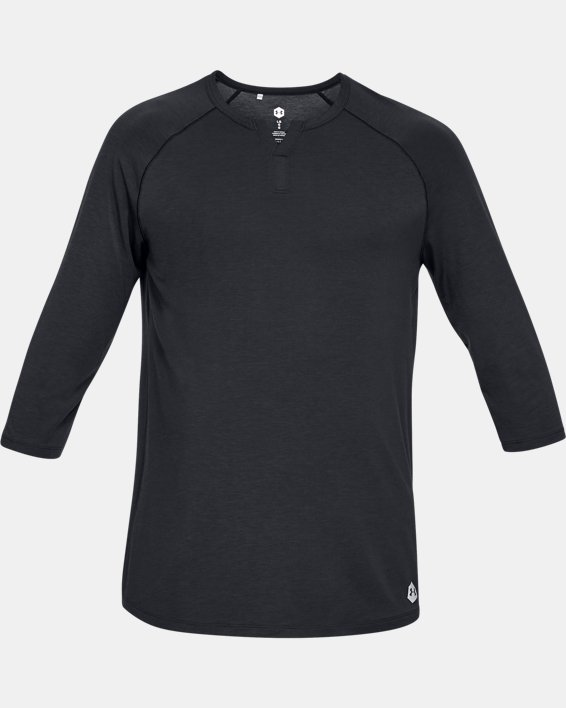 Men's UA RECOVER™ Sleepwear Henley, Black, pdpMainDesktop image number 3