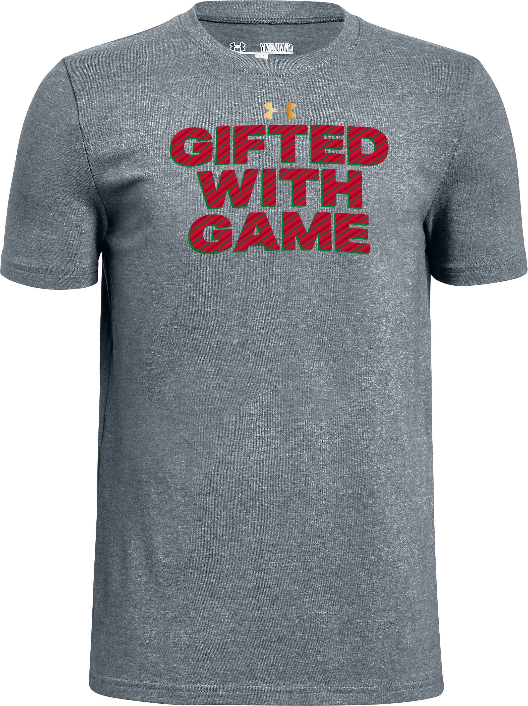 Boys' UA Gifted With Game Graphic T-Shirt, STEEL LIGHT HEATHER, zoomed