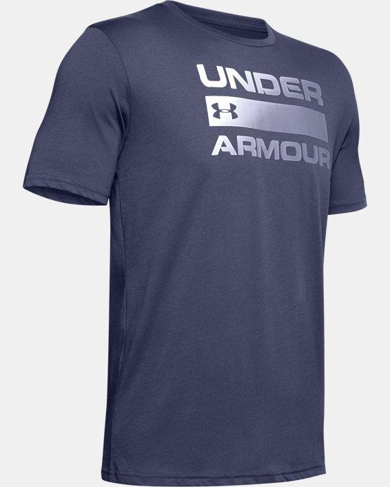 Men's UA Team Issue Wordmark Short Sleeve, Blue, pdpMainDesktop image number 4