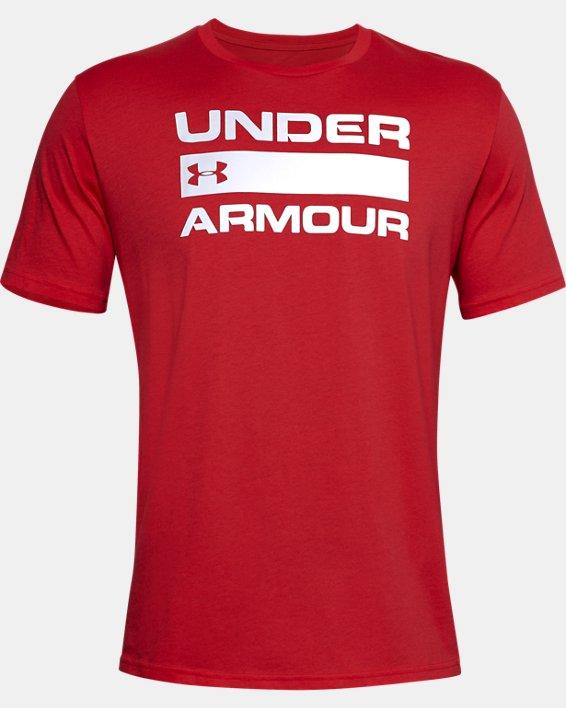 Men's UA Team Issue Wordmark Short Sleeve, Red, pdpMainDesktop image number 4