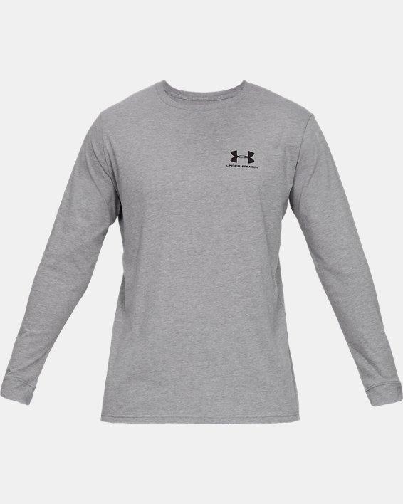 T-shirt à manches longues UA Sportstyle Left Chest pour homme, Gray, pdpMainDesktop image number 3