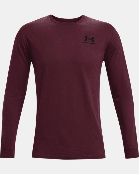 Men's UA Sportstyle Left Chest Long Sleeve, Red, pdpMainDesktop image number 3