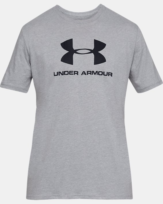Men's UA Sportstyle Logo Short Sleeve, Gray, pdpMainDesktop image number 3