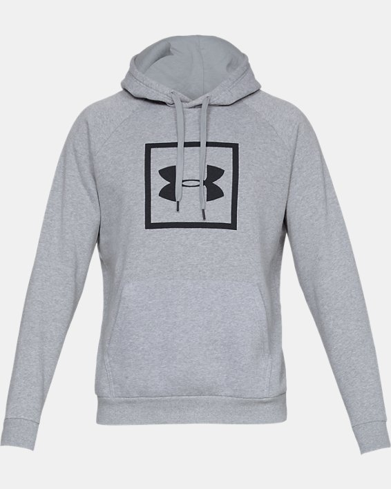 Men's UA Rival Fleece Logo Hoodie, Gray, pdpMainDesktop image number 3