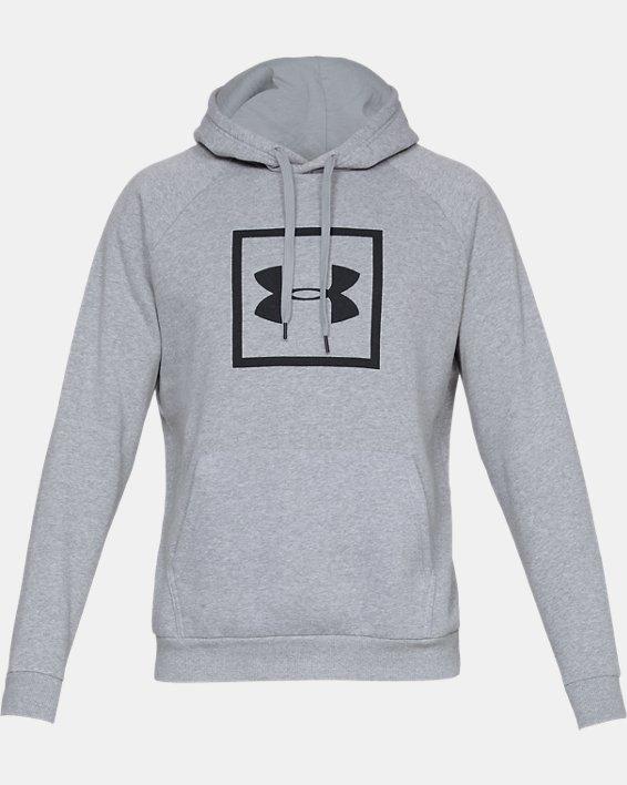 Men's UA Rival Fleece Logo Hoodie, Gray, pdpMainDesktop image number 3