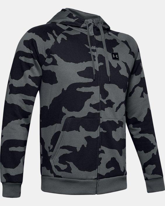 Men's UA Rival Fleece Camo Full Zip Hoodie, Gray, pdpMainDesktop image number 4