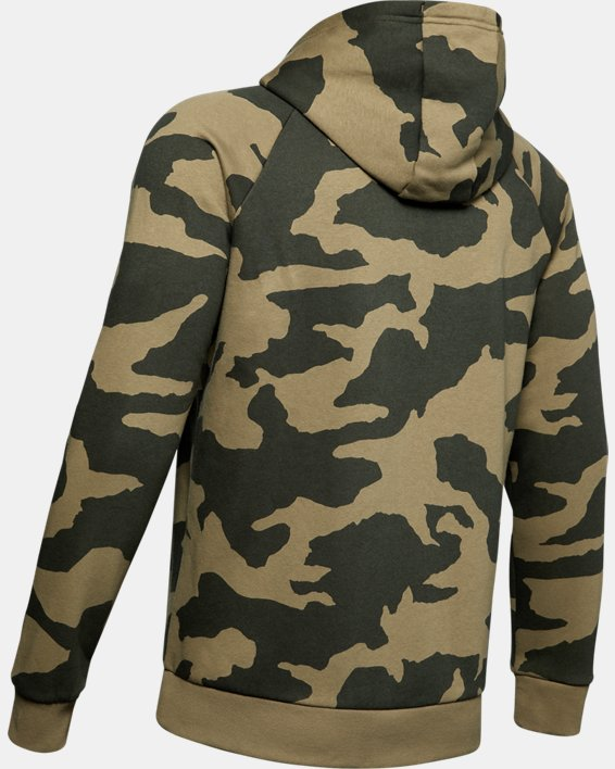 Sweat à capuche UA Rival Fleece Camo Full Zip pour homme, Green, pdpMainDesktop image number 5