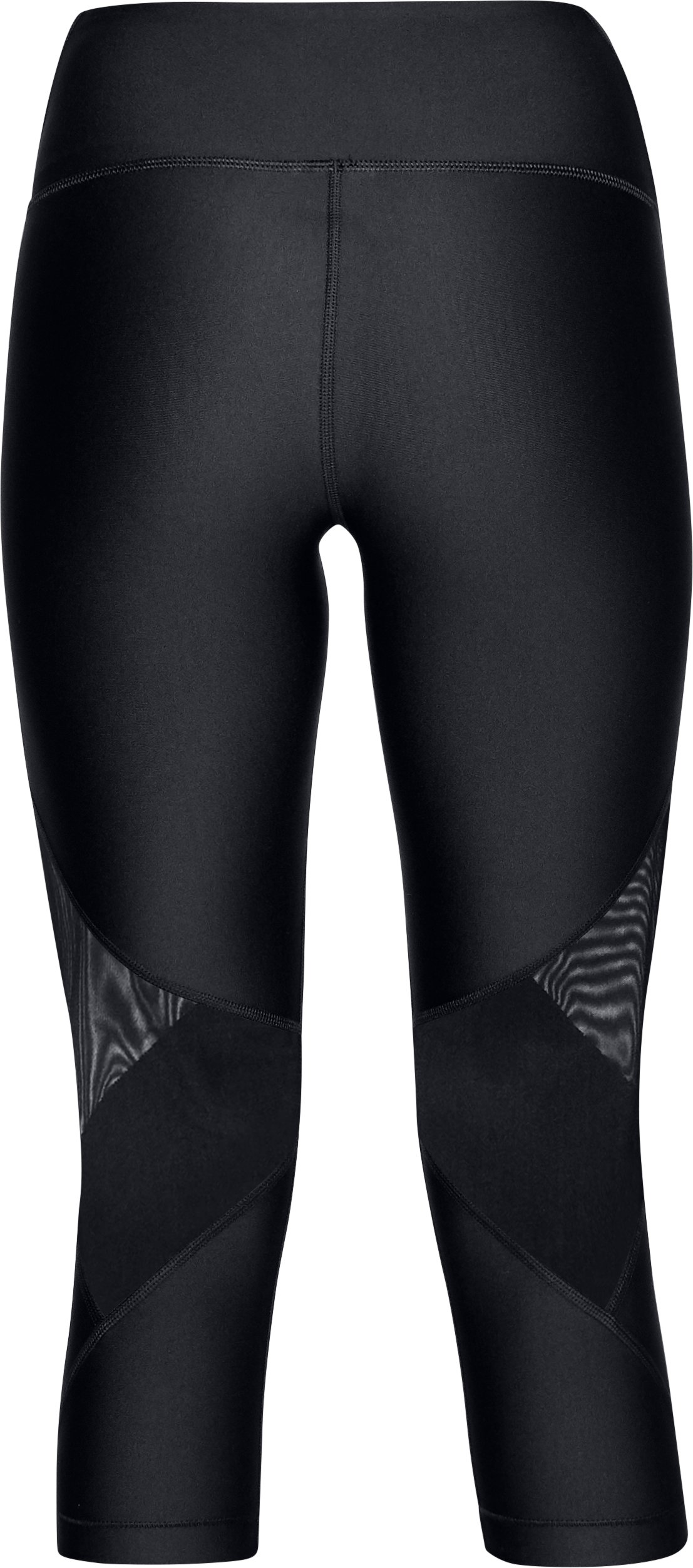 Women's HeatGear® Armour Mesh Capri, Black ,
