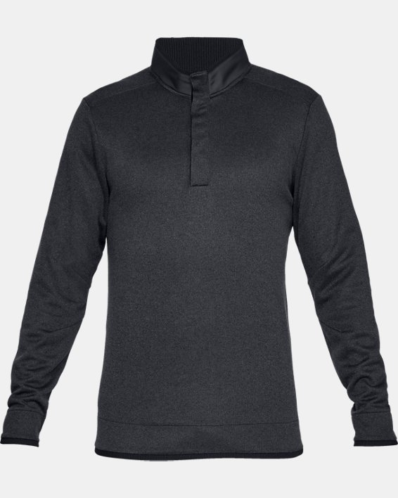 Men's UA Storm SweaterFleece Heather Snap Mock, Black, pdpMainDesktop image number 4