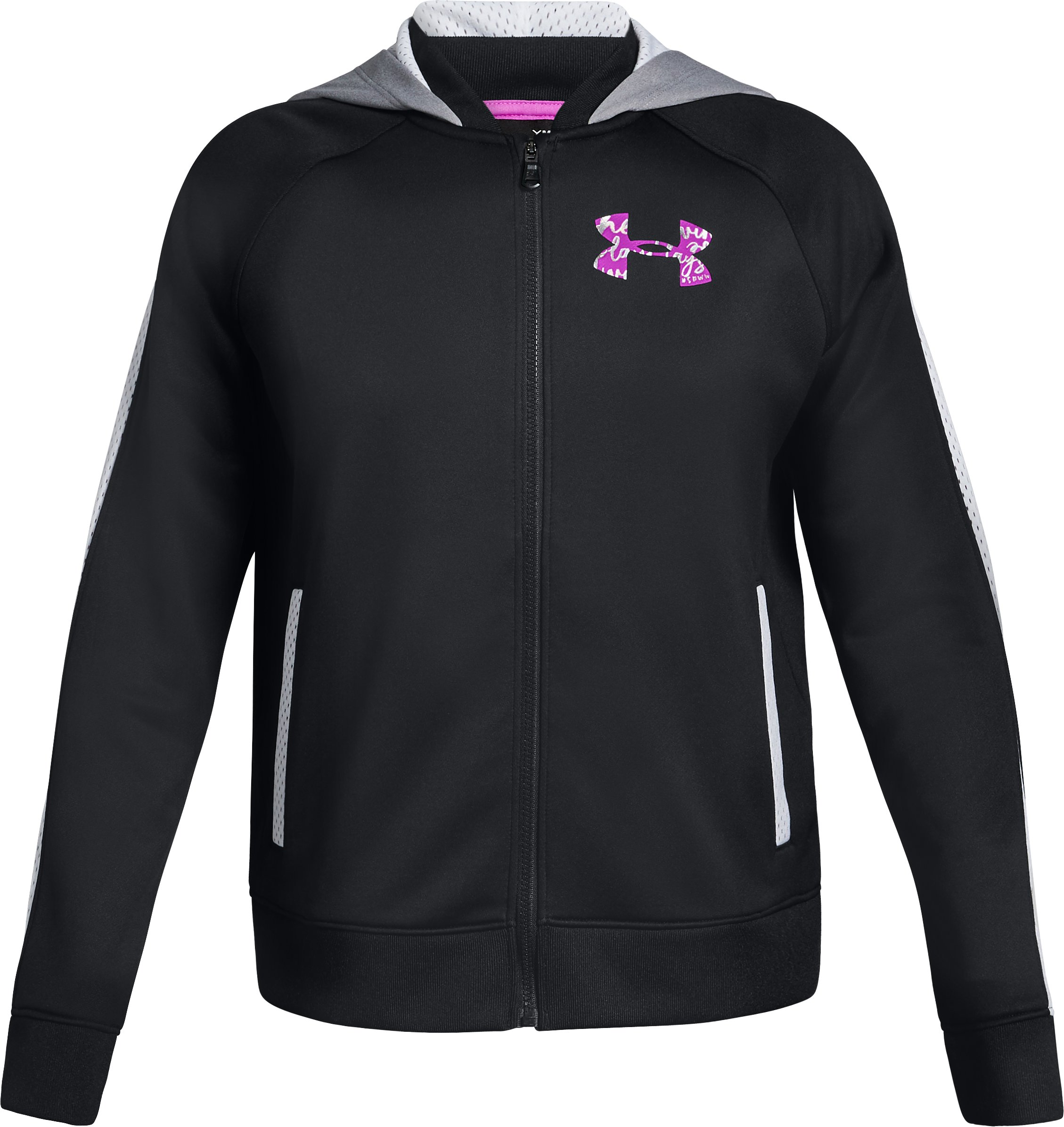 Girls' UA SPWW Bomber Jacket, Black , zoomed