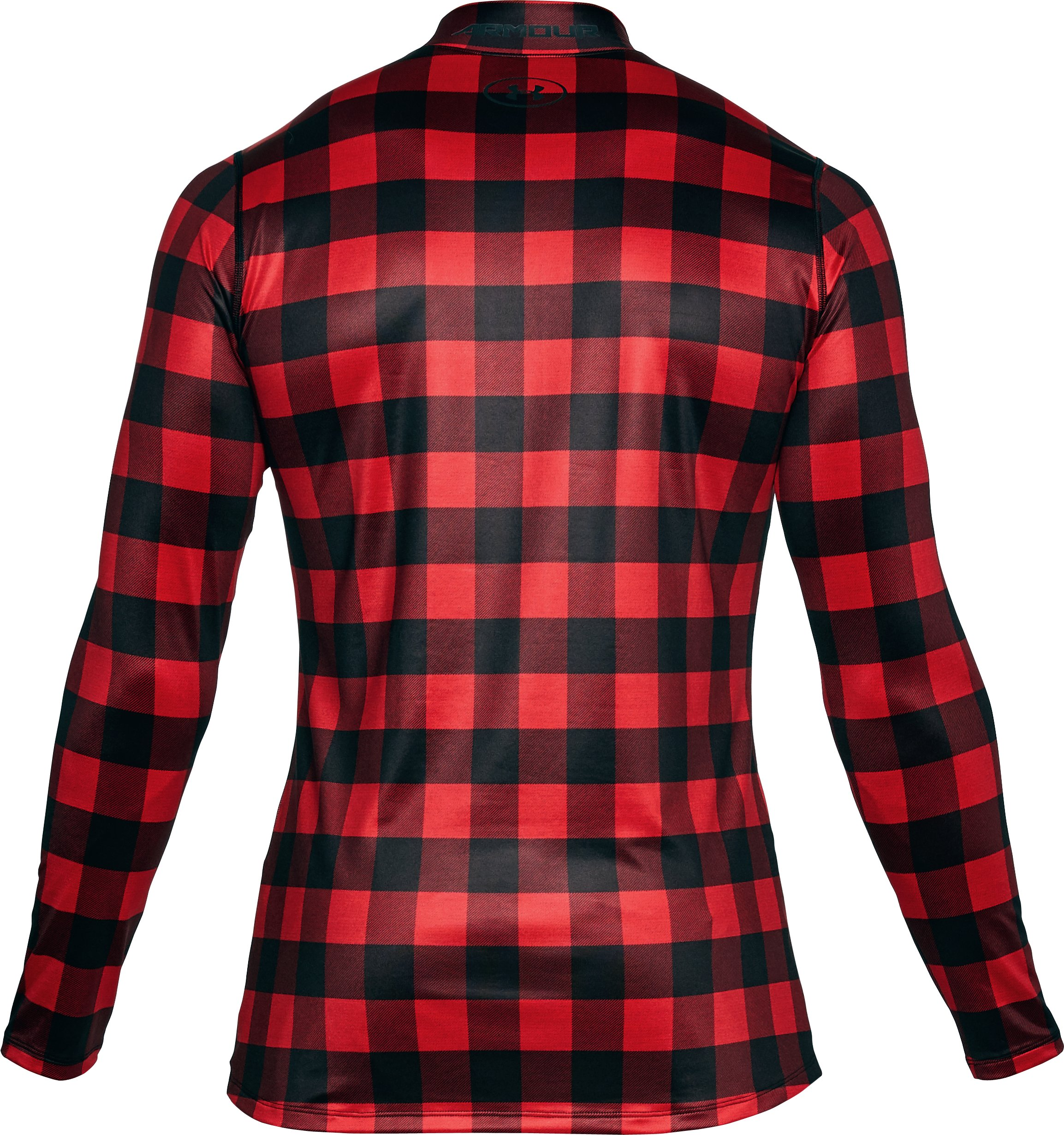 Men's ColdGear® Armour Plaid Fitted Mock, Red, undefined