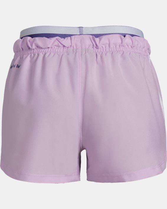 Girls' UA SPWW No Sweat Woven Shorts, Purple, pdpMainDesktop image number 1