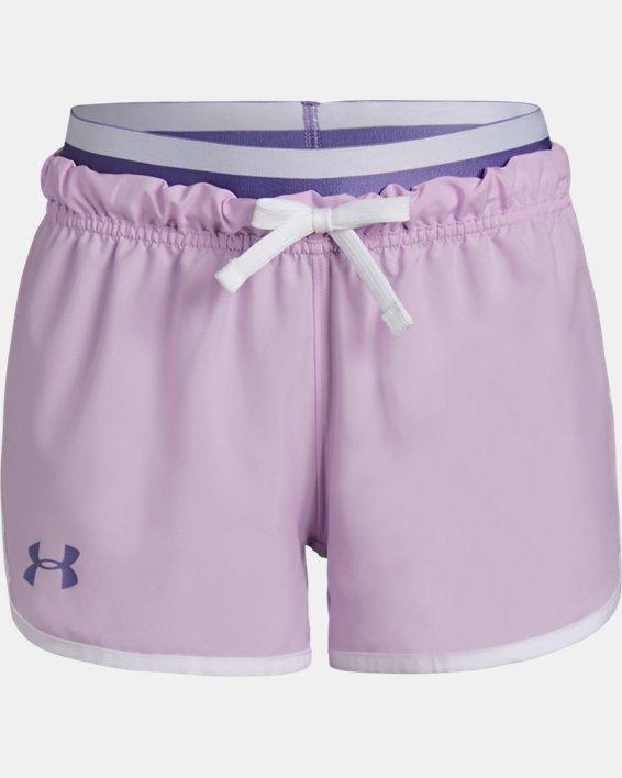 Girls' UA SPWW No Sweat Woven Shorts, Purple, pdpMainDesktop image number 0