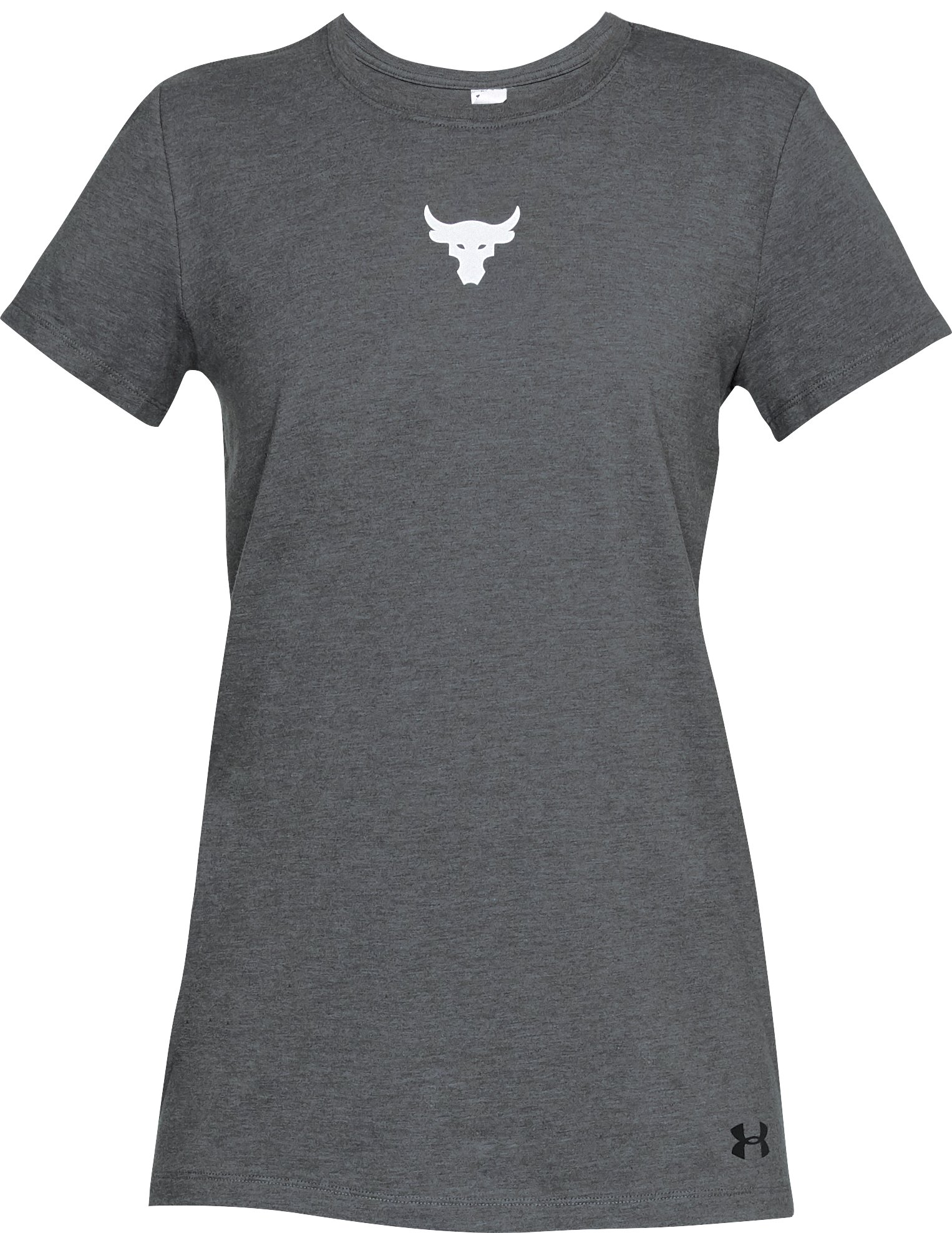 Women's UA x Project Rock Mini Bull T-Shirt, Charcoal Medium Heather,