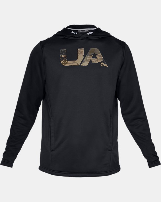 Men's UA Tech Terry Camo Fill Hoodie, Black, pdpMainDesktop image number 3