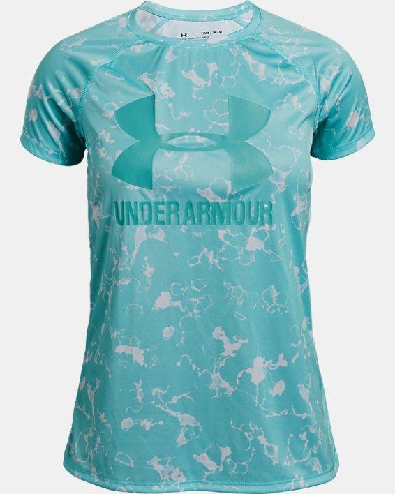 Girls' UA Big Logo Printed T-Shirt, Blue, pdpMainDesktop image number 0