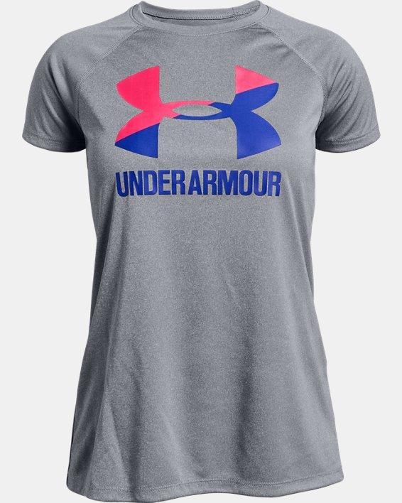 Girls' UA Big Logo Solid T-Shirt, Gray, pdpMainDesktop image number 0