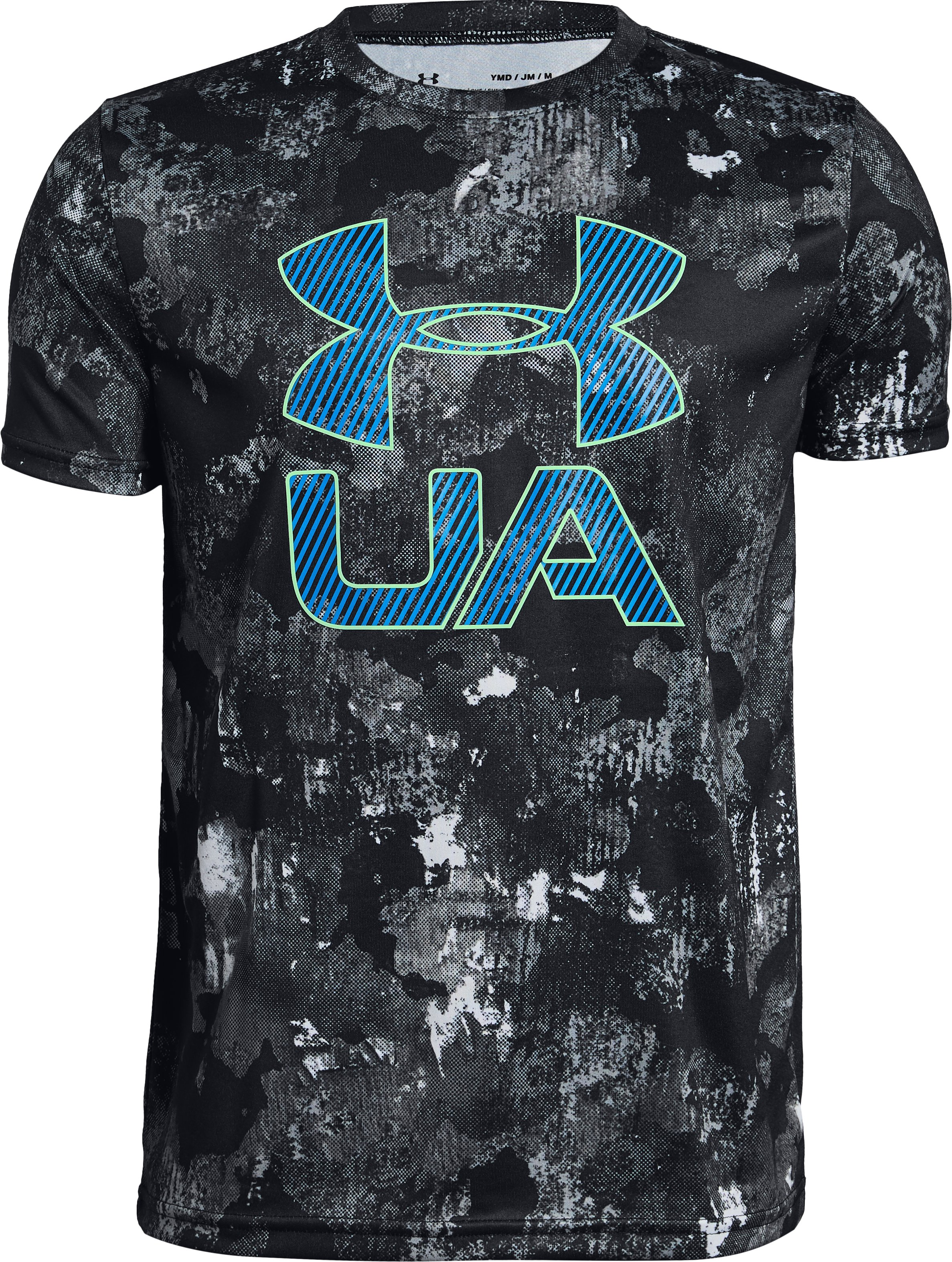 Boys' UA Printed Crossfade Short Sleeve T-Shirt, Black ,