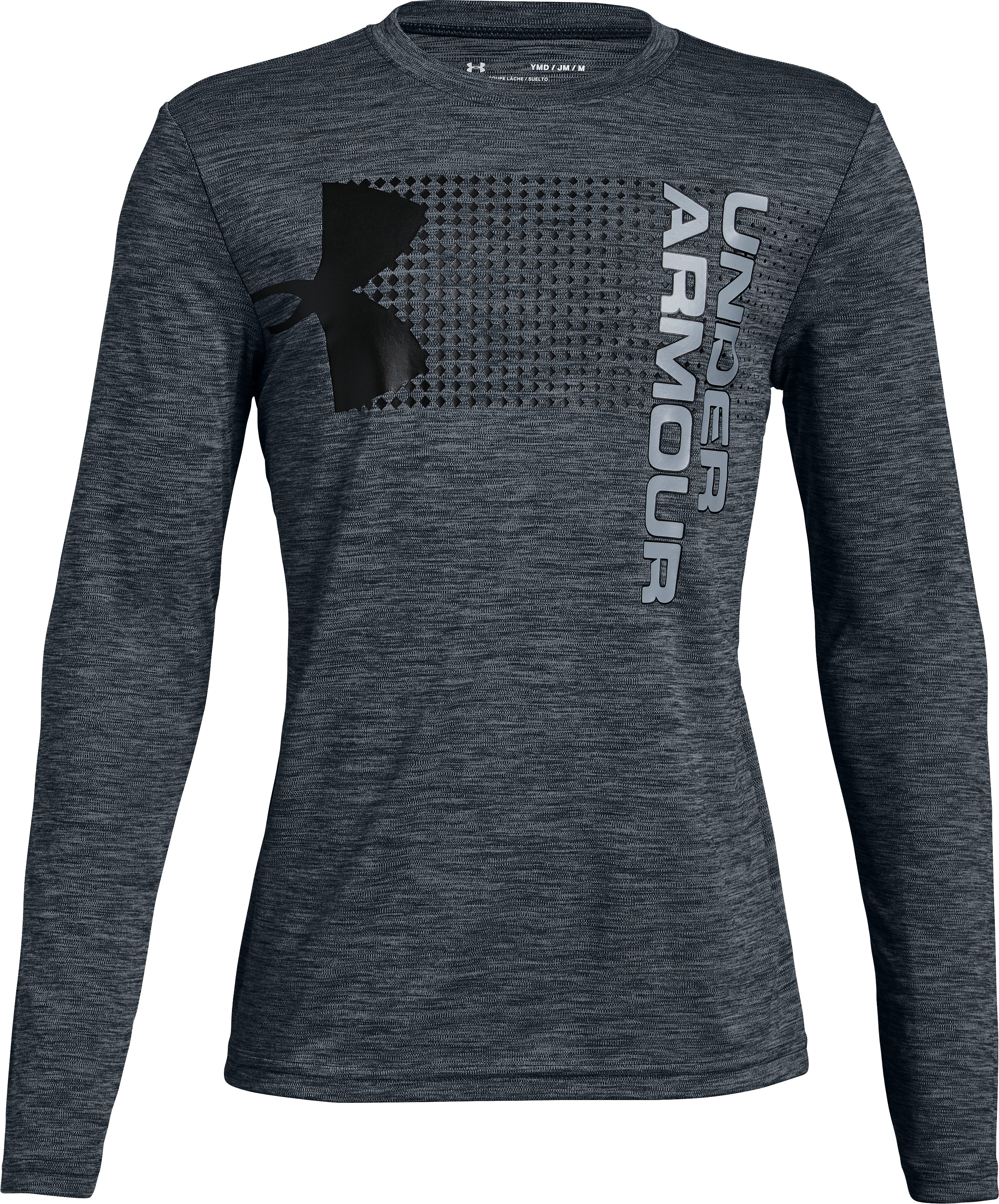 Boys' UA Crossfade Long Sleeve, STEALTH GRAY, zoomed