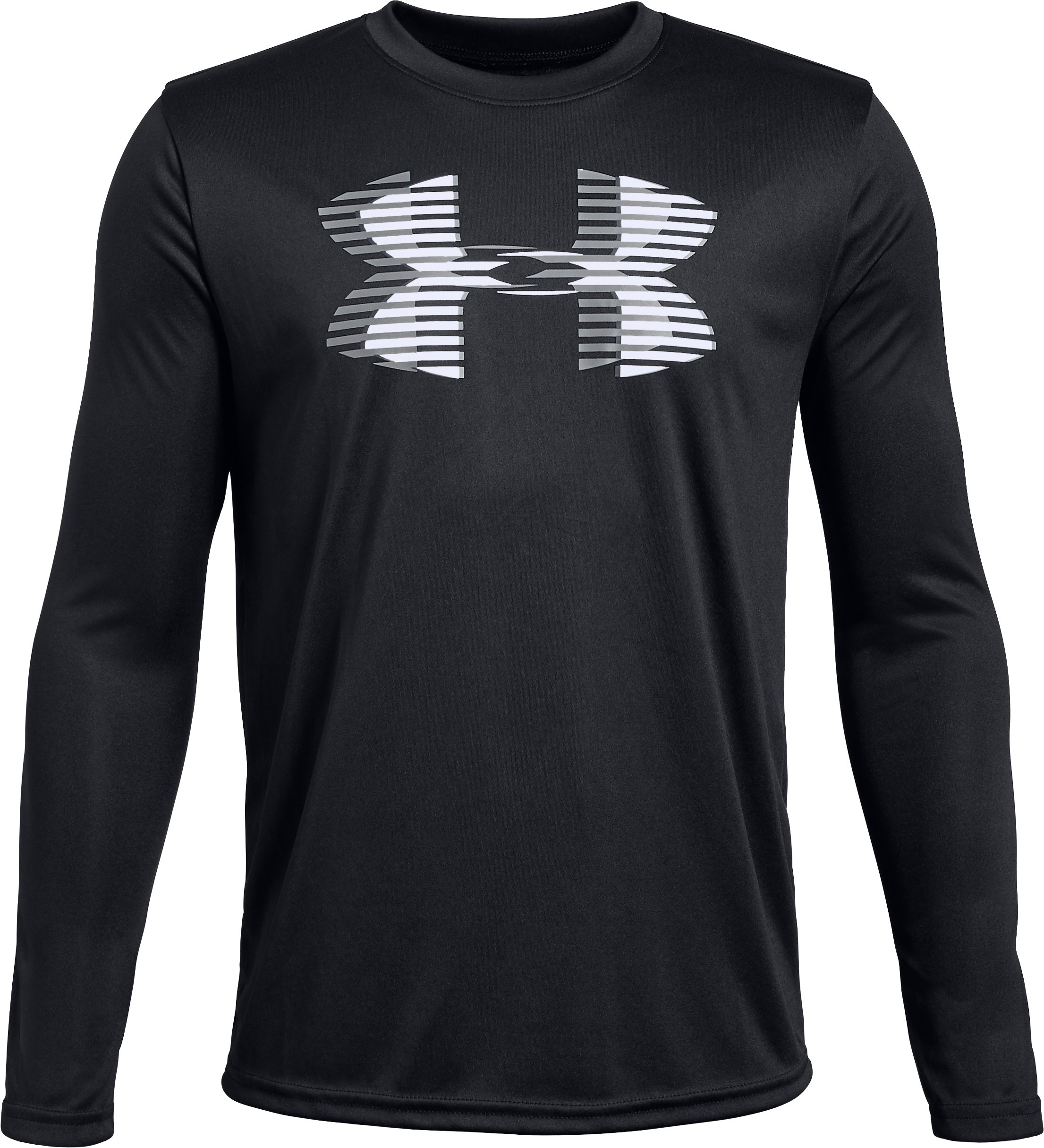 Boys' UA Tech™ Big Logo Long Sleeve, Black , zoomed