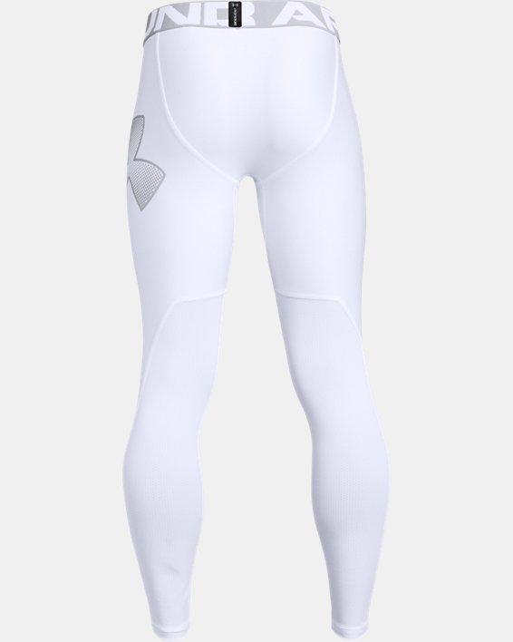 Boys' HeatGear® Armour Leggings, White, pdpMainDesktop image number 1