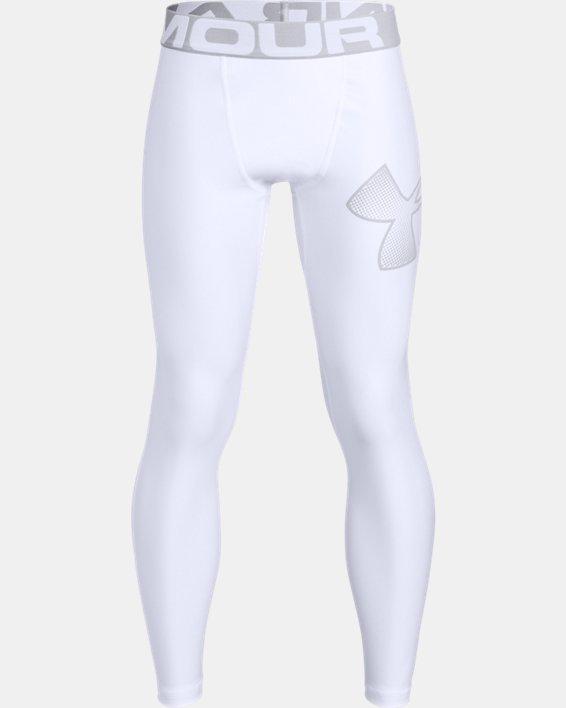 Boys' HeatGear® Armour Leggings, White, pdpMainDesktop image number 0