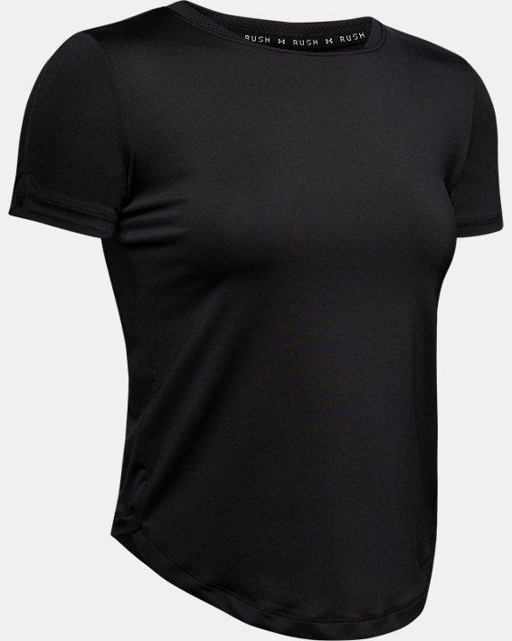 Women's UA RUSH™ Run HeatGear® Short Sleeve, Black, pdpMainDesktop image number 3
