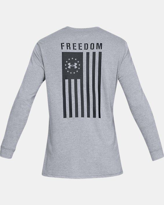 Men's UA Freedom Flag Long Sleeve T-Shirt, Gray, pdpMainDesktop image number 4