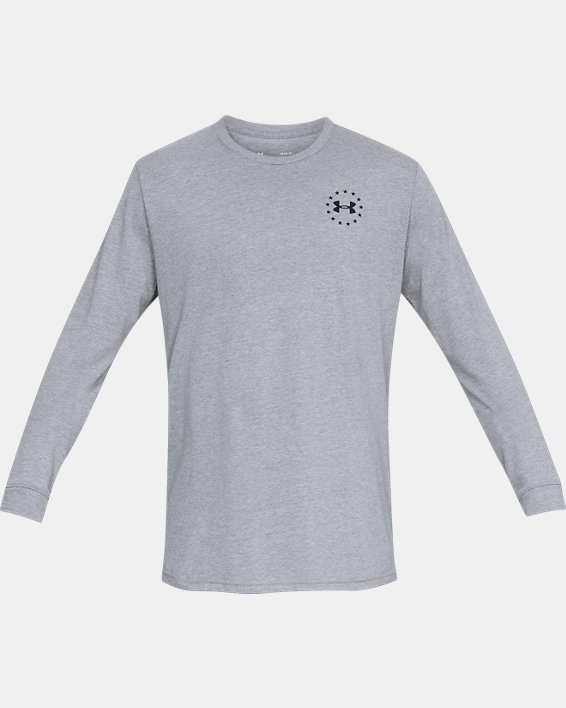 Men's UA Freedom Flag Long Sleeve T-Shirt, Gray, pdpMainDesktop image number 3