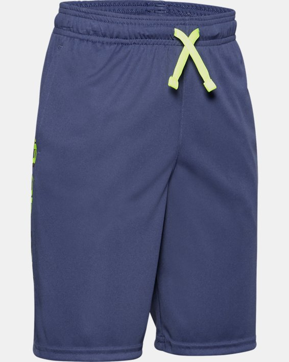 Boys' UA Prototype Wordmark Shorts, Blue, pdpMainDesktop image number 0