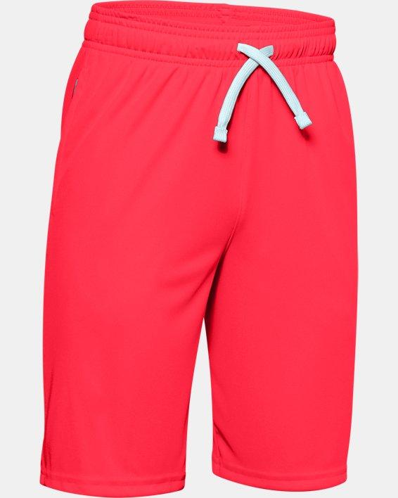 Boys' UA Prototype Wordmark Shorts, Red, pdpMainDesktop image number 0