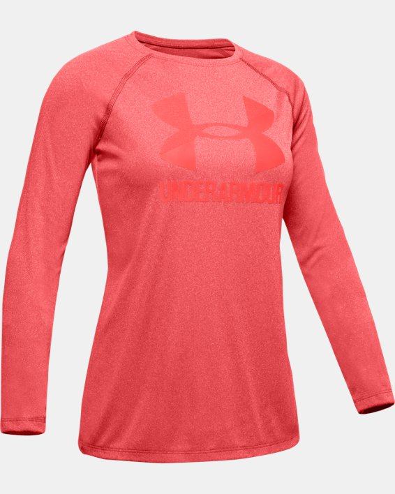 Girls' UA Big Logo Long Sleeve Shirt, Orange, pdpMainDesktop image number 4